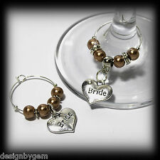 Beautiful Mocha wedding wine glass charms for top table or favours decor