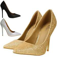 Sparkly Glitter Pointed Toe High Stiletto Heel Party Prom Bridal Court Shoes