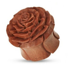 8 to 16mm Organic Wooden Hand-carved Rose Double Flared Ear Stretching Plug