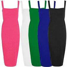 New Womens Long Bodycon Square Neck Wide Strap Pencil Dress 8-22