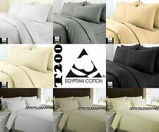 Luxury Egyptian Cotton T200 Duvet Quilt Cover Pillow case Bedding Set All Sizes