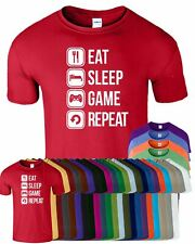 Eat Sleep Game Repeat New Mens T-Shirt Funny Top Crew Neck Tee T Shirt