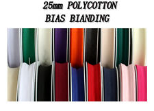 25mm POLYCOTTON BIAS FOLDED BINDING TAPE - Available In Different Length