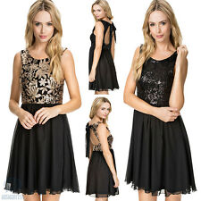 Sexy Sleeveless Sequin Skater Slim Formal Prom Cocktail Gown Evening Party Dress
