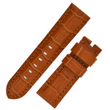Panerai Style Alligator Embossed Watch Strap in BROWN / BROWN