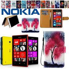Folio Stand Card Wallet Leather Cover Case Pouch For Various Nokia mobile Phones