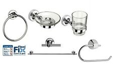 New Croydex Worcester Flexi-Fix Chrome Plated Bathroom Accessory Set