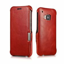 ICARER Genuine Premium Leather Wallet Flip Luxury Case Cover Skin For HTC One M9
