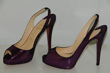 New Christian Louboutin No Prive Fucshia Square Suede Platform Heels Shoes 37.5
