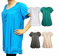 V neck top with matching necklace, filled hem, Plus Sizes Too