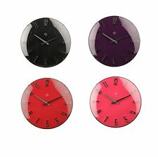 Retro Quartz Wall Mounted Clock Home Office Kitchen Chrome Effect Clock - NEW