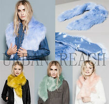 New Pastel Colour FAUX FUR Collar Scarf Stole Hook and Eye