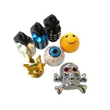 2 x VALVE CAPS DUST SKULL SMILEY EYE BALL CROWN BIKE BICYCLE MTB BMX CAR TYRE