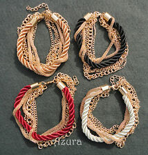 MultiStrand Metal Gold Chain Mesh Braided Rope Weave Bracelet Cuff choose colour