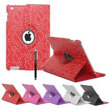 Leather 360° Rotating Bling Smart Stand Case Cover For iPad 2, iPad 3 & iPad 4