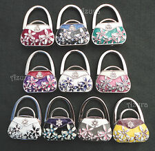 Crystal Rhinestone Handbag Bag Purse Flower Folding Padlock Holder Hook Hanger