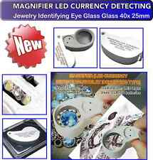 Magnifier LED Currency Detecting /Jewellers Eye Glass Pocket Size Lens 40x25mm