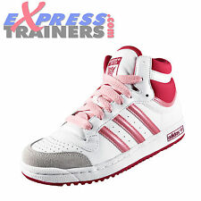 Adidas Originals Junior Girls Top Ten Hi Top Retro Trainers White *AUTHENTIC*