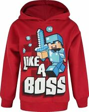 Minecraft Hoodie Mine Craft Hoody Official LIKE A BOSS | Youth | RED | L/SLEEVE