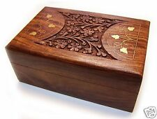 Wooden 6 x 4 Jewellery Box Brass Inlay Trinket Storgage Boxes Cards Tarot Gift