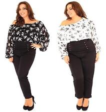 New Ladies Floral Off shoulder corset long Sleeve Gypsy Tops 16-26