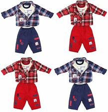 Baby Boys Winter Outfit 3 Piece Set Padded Shirt Jumper Trouser 6-24 Months New