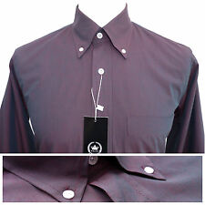Relco Mens Burgundy Tonic Shirt NEW Two Tone Long Sleeve Mod Retro Vintage 60s