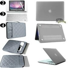 Grey Rubberized Hard Case +Carrying Sleeve Bag+ Keyboard Cover For Apple Macbook