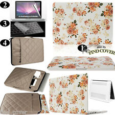 Retro Flower Rubberized Hard Case Carrying Bag Keyboard Cover For Apple Macbook