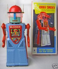 TR2054 Tin Metal collectible Toy battery operated Mr Chief Smoky Robot space MAN