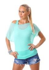 Damen kurzarm Shirt Tunika Bluse Tank Top one Shoulder Carmen im double Look