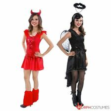 Teen Fallen Angel Black & Red Devil Scary Costume Fancy Dress