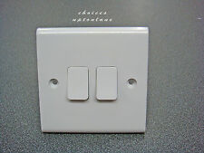 DETA SLIMLINE WHITE 2 GANG 2 WAY LIGHT SWITCH 10A S1204 ***CLEARANCE***