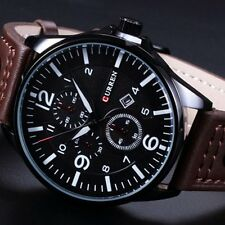 Mens New Fashion Elegant Leather Stainless Steel Sport Analog Quartz Wrist Watch