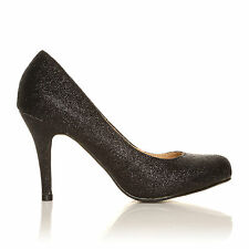 PEARL Black Glitter Stiletto High Heel Classic Court Shoes