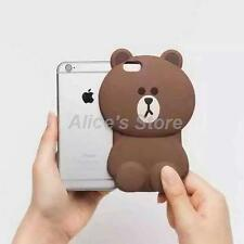 Cute 3D Cartoon Brown Bear Soft Silicone Case Cover for Apple iPhone 5S 6 6Plus