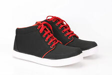 Quarks Men's Casual Lace-up Canvas Shoes - Black Color - Q1045BK