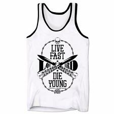 Live Fast Love Hard Die Young Hipster Vintage Retro Swag Tattoo Mens Low Vest