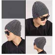Chic Winter Warm Men Boys Crochet Braided Knit Ski Beanie Wool Cuff Hats Caps