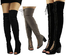 WOMENS LADIES OVER THE KNEE HIGH HEEL BOOTS LONG PULL ON  SUEDE PEEPTOE SHOES