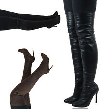Womens Over The Knee High Stretch Leg High Heel Thigh High Boots Size 3-8