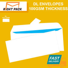 QUALITY DL PLAIN 100GSM WHITE ENVELOPES PEEL AND SEAL STRONG PAPER 110MM X 220MM