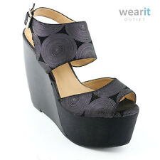 Penny Loves Kenny Silfab Black Silver Womens Open Toe High Heel Platform Shoes