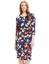 Marks & Spencer Red,Taupe & Blue Floral Print Stretchy Shift Dress 3/4 Sleeves