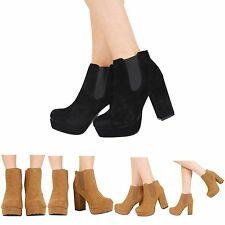 NEW WOMENS HIGH HEEL PLATFORM SLIP ON LADIES CHELSEA ANKLE BOOTS SHOES SIZE 3-8