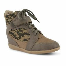Ladies Lace Up Camo High Top Ankle Sneakers Wedge Trainers Boots Shoes UK 3-8