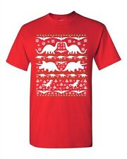 Dinosaurs Dino Fossils T-Rex Ugly Christmas Funny Humor DT Adult T-Shirt Tee