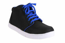 Quarks Men's Casual Lace-up Canvas Shoes - Black&Blue Color - Q1045BB