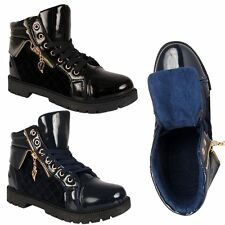 Ladies Womens Combat Military Hi Top Trainers Ankle Boots Check Print Zip Cuff