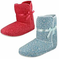Ladies Spot On Heart Pattern Boot Slippers